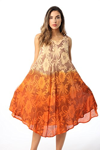 Riviera Sun 21834-ORG-1X Umbrella Dress Orange