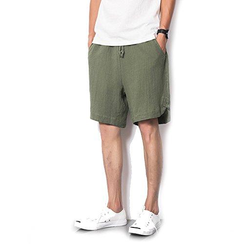 ZFADDS Men's Cotton Linen Loose Shorts Summer New Plate Buck