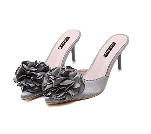 SHINIK Women's Silk Summer Slingback Clogs & Mules Stiletto Heel Pointed Toe Satin Flower for Casual Gray Pink Size 35-39 (Color : Gray, Size : 39)