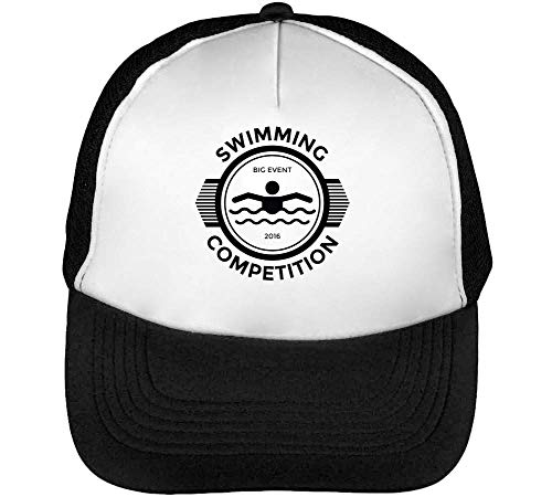 Sport Badge Swimming Competition Gorras Hombre Snapback Beisbol Negro Blanco