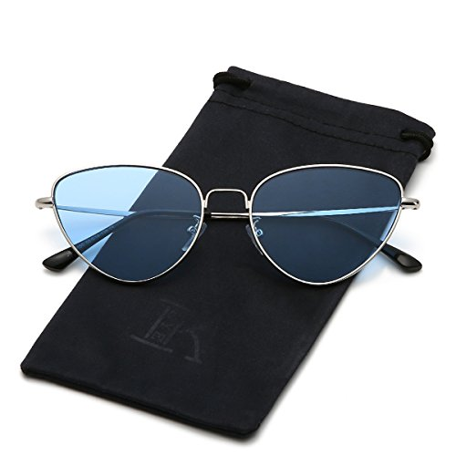 Silver Frame Transparent (LKEYE Cat Eye Mirrored Sunglasses Metal Frame Flat Lens LK1742 Silver Frame Transparent Blue)