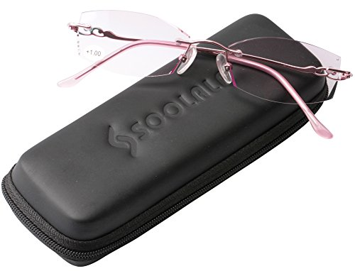 Pink Rhinestone Reading Glasses - SOOLALA Tinted Purple Lens Diamond Cut Edge Rimless Reading Glasses with Rhinestones (Pink, 1.5)
