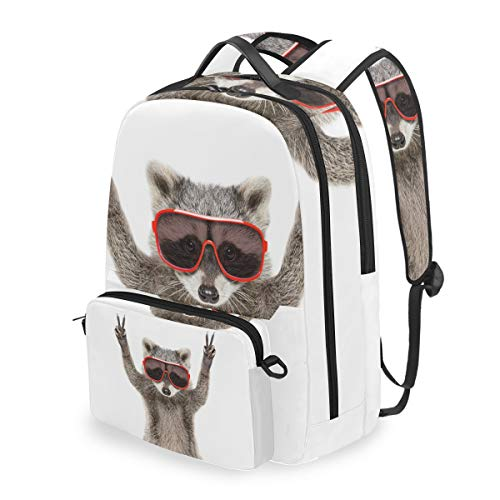 Laptop Backpack, 2 in 1 Multi-Functional Convertible Messenger Bag Red Sunglass Cool Raccoon Clever Animal Backpack Fits for 15 inch Computer/Notebook/Tablet, Sports Bag for Men Women - Raccoons Clever
