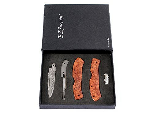 KnifeKits: Pony Mid-Lock Damascus/SS Folding Knife Kit - Parts Kit w/Red Quince Handles - DIY Knife Parts (Pony Knife)