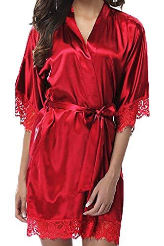 Lace Le Accappatoio Notte Manica 3 Camicia Kimono 4 Red Donne Stich Pigiama Sevozimda Da 01wRqT0