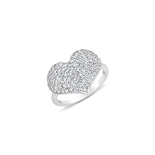 Women's Ring Heart Shaped - micro pave cubic zirconia CZ - heart shape ring (7.5) (Micro Pave Heart)