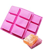 BAKER DEPOT Rectángulo molde de silicona para jabón artesanal, pastel, pan 6 hoyos,