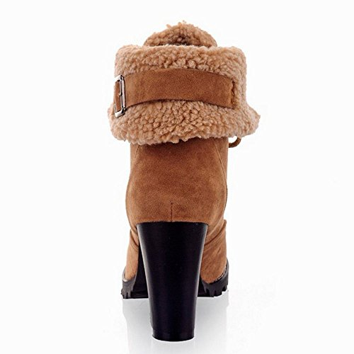 COOLCEPT Damen Mode Schnurung Winter Stiefel Blockabsatz Light Braun