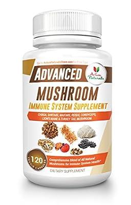 Mushroom Immune System Supplement (120 Veg. Capsules) - Optimized Blend of 7 Mushrooms (Turkey Tail, Reishi, Lions Mane, Maitake, Cordyceps, Chaga & Shiitake) to Support Immunity Health