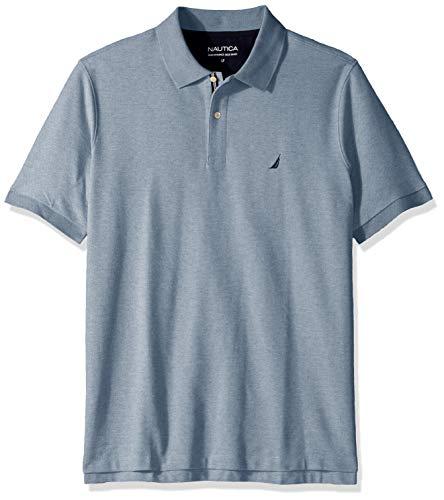 Nautica Men's Classic Fit Short Sleeve Solid Performance Deck Polo Shirt, Deep Anchor Heather, 1X Big