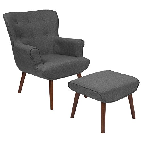 Modern Wing Chairs - Flash Furniture Bayton Upholstered Wingback Chair with Ottoman in Dark Gray Fabric
