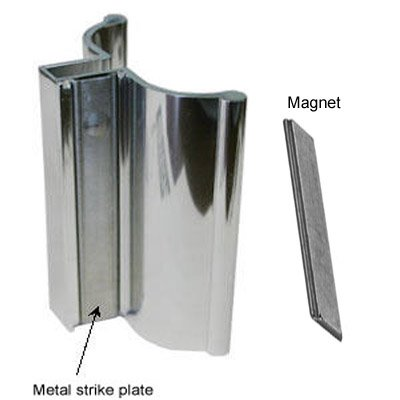 (Bright Chrome Frameless Shower Door Handle with Metal Strike and Magnet -)