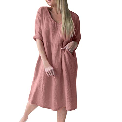 POQOQ T Shirt Dress Women O Neck Half Sleeve Casual Loose Women Solid Above Knee Dress -