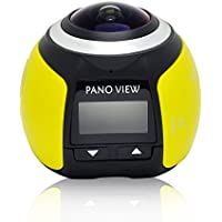 Wireless Panoramic Action Camera V1 3D VR Action Sports Camera Wifi 16MP HD 30fps Waterproof 220° Large Lens Mini DV Camera 360 Degree HD DVR Recorder, Yellow