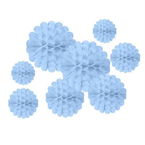 AimtoHome Tissue Hanging Paper Pom-poms, Light Blue Honeycomb Flower Ball for Wedding Party Outdoor Decoration Premium Honeycomb Tissue Paper Pom Pom Flowers, 8