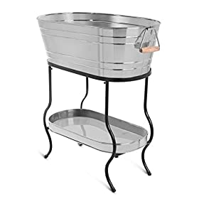 BIRDROCK HOME Stainless Steel Beverage Tub with Stand – Oval – Bottom Tray – Party