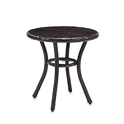 Amazoncom Durable Crosley Palm Harbor All Weather Round Outdoor - All weather wicker side table