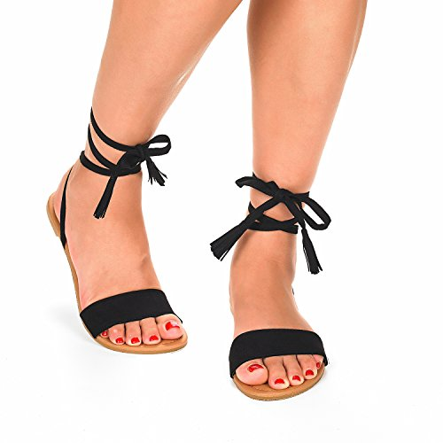 DREAM PAIRS New Women Open Toe Fashion Gladiator Ankle Straps Lace Up Tie Summer Design Flat Sandals