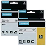 2-Pack Replacement DYMO 18445 Rhino Industrial Permanent Vinyl Label Tapes for DYMO LabelWriter and Rhino 4200 5200 5000 6000 Label Makers and More, Black on White, 3/4 inch (19mm) x 18 feet (5.5m)
