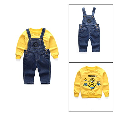 9e80fa0f2e69 Amazon.com  Baby Boys Girls Minion Denim Overalls Sweater Suit Long Sleeve  Romper Set  Clothing
