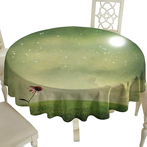 (Cranekey Striped Round Tablecloth 54 Inch Surrealistic,Coneflower in The Field Under Moon Sky Spring Blossoms Graphic,Pistachio and Fern Green Great for,Outdoors & More)