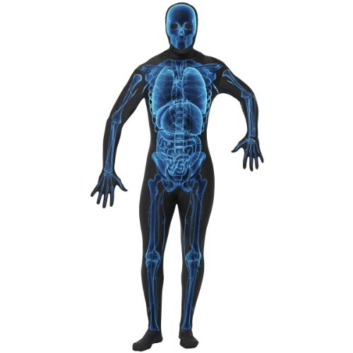 Stick Man Costume (Smiffy's Adult Unisex X Ray Costume, Second Skin Suit, Concealed Fly and Under Chin Opening, Legends of Evil, Halloween, Size L, 21622)