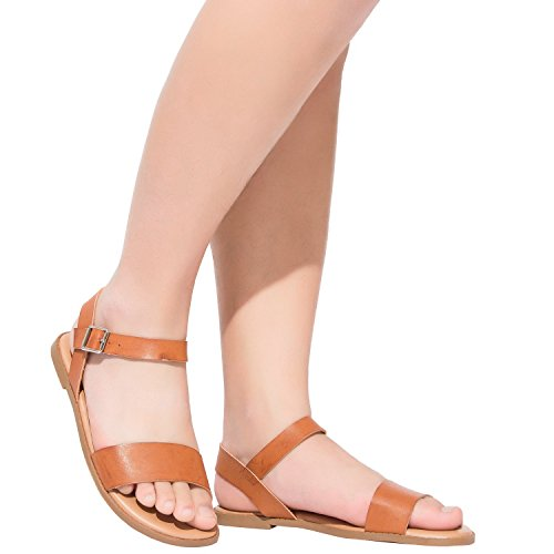 Women's Wide Summer Flat Sandals - Open Toe One Band Ankle Strap Flexible Shoes(180307 Brown,10WW)