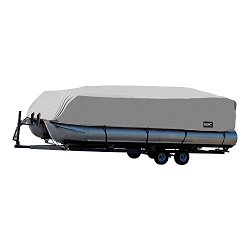 Hurricane Boat Cover - MSC Trailerable Pontoon Boat Cover 300D UV,Mainre Grade, Color Grey,Pacific Blue Available (Gray, Model C - Fits: 25' to 28'L Beam Width to 104