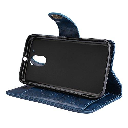 G4 Cuir Marron Carte Housse LOHHA10304 G4 Bleu Coque Porte Aimant G4Plus avec Etui Moto Plus Protection Lomogo Moto Motorola par Vintage Rabat Fermeture G4 Portefeuille de pour en Choc Anti EcqA8wYf7