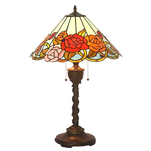 Table Lamps, 18 Inch Tiffany Style Desk Lamps Simple Rose Warm Wedding Room Table Light Color Glass Bedroom Bedside Lamp for Bedroom Study Reading Office, 60W ()