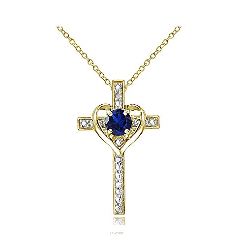 Yellow Gold Flashed Sterling Silver Created Blue Sapphire Cross Heart Necklace