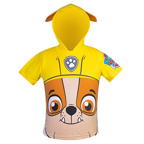 Nickelodeon PAW Patrol Hooded Shirt: Chase, Marshall, Rocky, Rubble, Zuma - Boys (Yellow Rubble, 5T)