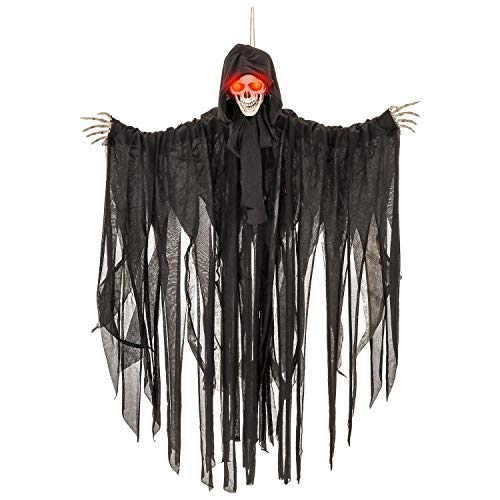 Halloween Haunters Animated Hanging Talking Jumping Forward Moving Skull Skeleton Reaper Prop Decoration - Speaks 3 Spooky Phrases, LED Light Up Eyes, 3 Feet, Haunted House Graveyard Party Entryway]()