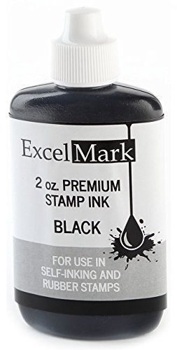 Refill Self Inking Stamps - ExcelMark Premium Stamp Refill Ink, Black, 2 Ounce Bottle