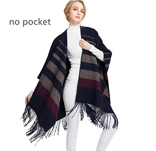 48''x67'' Winter Cashmere Wool Scarf Shawl- Oversized Wrap Scarves For Women Lucyliu04 Designed (dark blue+camel) by lucyliu04