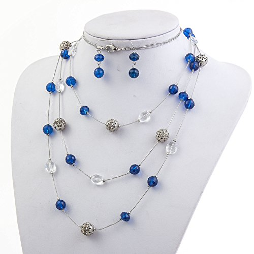 New Beautiful Fashion 3 Layer Handmade Jewelry Set Long Illusion Necklace (plated (Blue Bead Necklace Set)