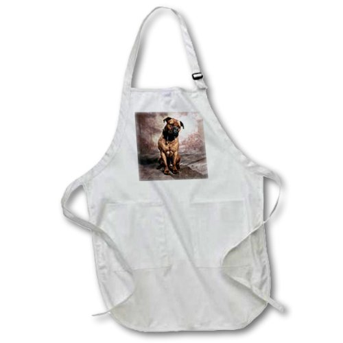 3dRose apr/_974/_1 22 by 30-Inch Bullmastiff Apron with Pockets White Full
