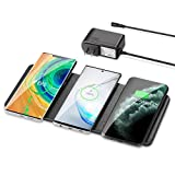 Wireless Charging Pad, ZealSound Qi-Certified Ultra-Slim Triple Wireless Charger Station for Multiple 3 Devices & New Airpods Ultra Slim Leather Mat W/AC Adapter for All Qi Enabled Phones (Black)