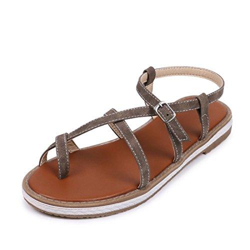 para Zapatos Sandalias Sandalia Número Mujer Mujer y Cierre un Grey Estudiantes Europa Gran en Verano Base Sandalias y Pulsera de de de América de Plana con Mujer 5gIHcx