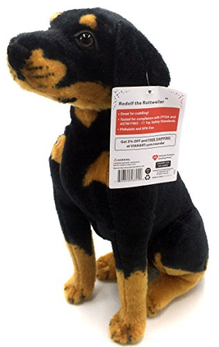Big Plush Stuffed Dog (Rodolf the Rottweiler | 15 Inch Large Dog Stuffed Animal Plush | By Tiger Tale Toys)