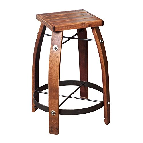 2-Day Designs Reclaimed 28-Inch Stave Wine Barrel Bar Sto...