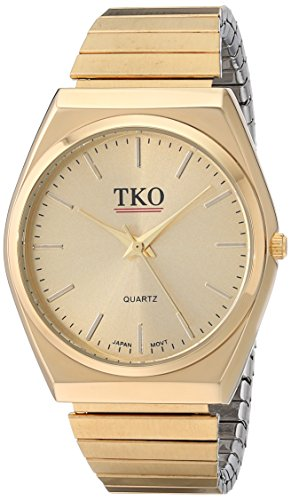 TKO All Gold Watch Expansion Band Stainless Steel  Stretch Thin Case Gold Face Dress Flex Vintage Watch TK649G