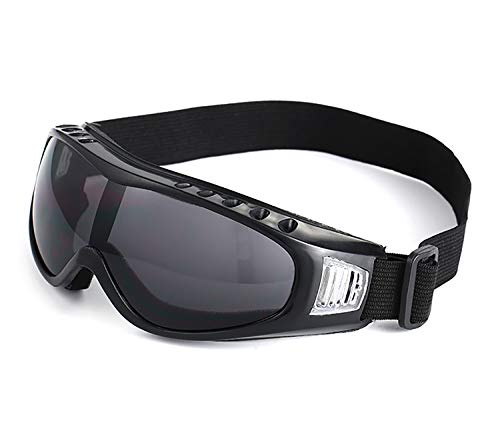 (June Sports Outdoor Goggles Motorcyle Safety Glasses Vintage Classic Motorcycle Dirt Bike Goggle Aviator Pilot Retro Cruiser Scooter Biker Motocross Vented Goggles BlackTinted Lens KG13)