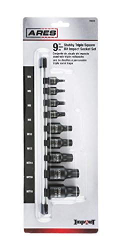 ARES 70612 | 9-Piece Impact Stubby Triple Square Bit Socket Set | Chrome-Moly Steel and Manganese Phosphate Coating Designed for Impact Use | Sizes Range from M4 to MT18 on a Reusable Storage Rail by ARES (Image #5)