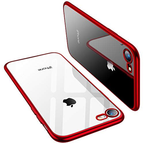 (TORRAS Crystal Clear iPhone 8 Case/iPhone 7 Case, [Upgraded] Soft TPU with Stylish Edge Slim Thin Silicone Gel Transparent Phone Cover Case Compatible with iPhone 7/8(4.7 inch), Red)