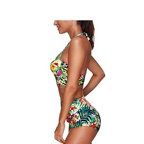 Molif Women Swimwear High Waist Underwire Floral Jungle Print Bikini Set Halter Neck Padded Push Up Bathing Suit Multi XXXL