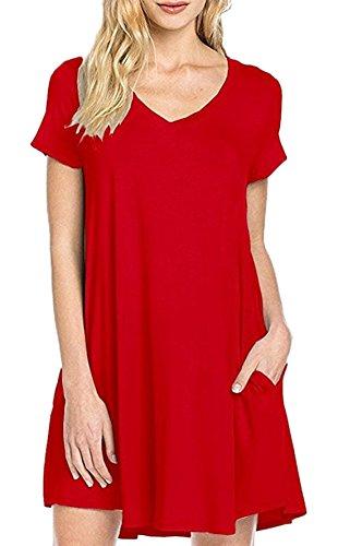 Verano Mujer Coctel Fiesta Cuello V Manga Corta Mini Vestido de Vacaciones Partido Gasa Vestidos Casual Suelto Colores Lisos Vestido de Playa Rojo