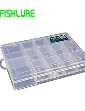 ZQ afishlure pesca Tackle cajas señuelo de hoja de 14 Grids Caja impermeable 1 bandeja 18
