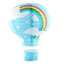 uxcell® Paper Rainbow Print Party Graduation DIY Lightless Hanging Decoration Hot Air Balloon Lantern Blue