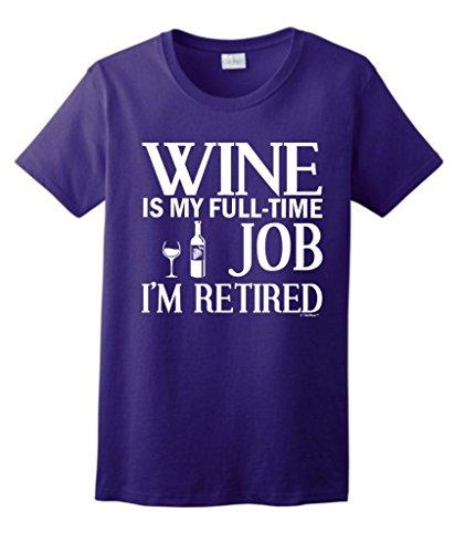 Wine Retired Retirement Ladies T Shirt